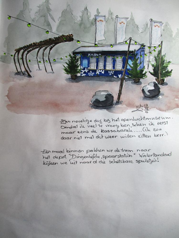 schets van de kassa van het openluchtmuseum