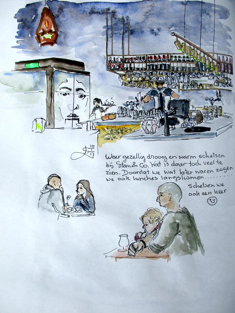 schets/ aquarel van een restaurant interieur