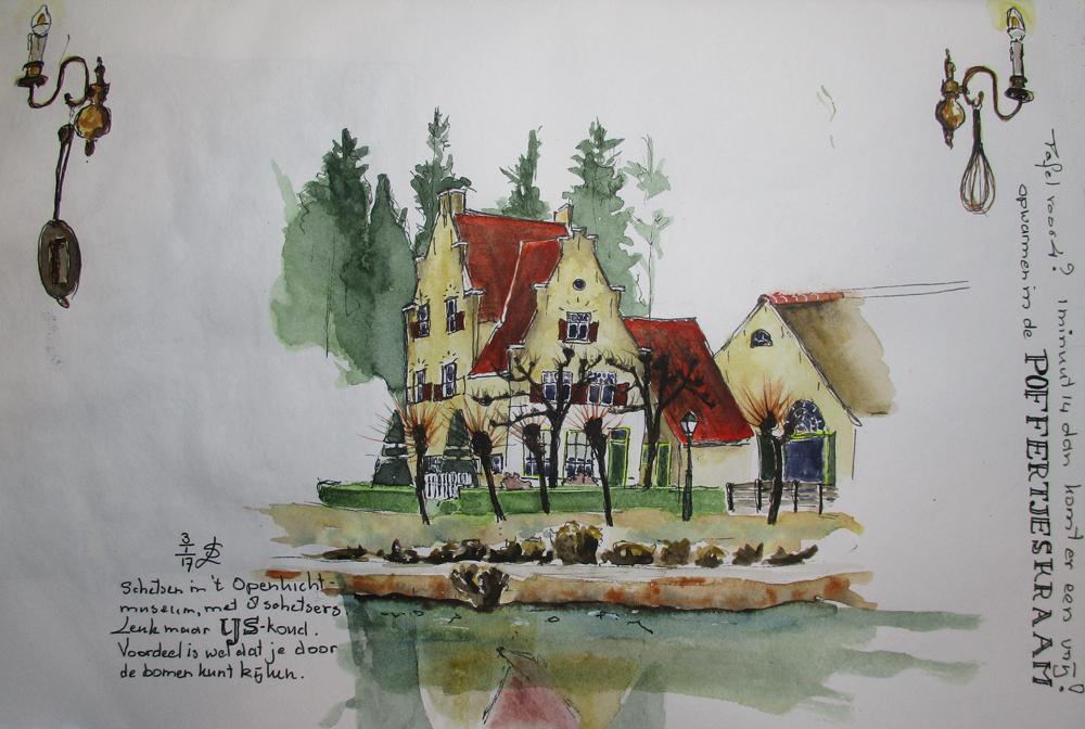 schets aquarel van de kasteelboerderij in het openluchtmuseum
