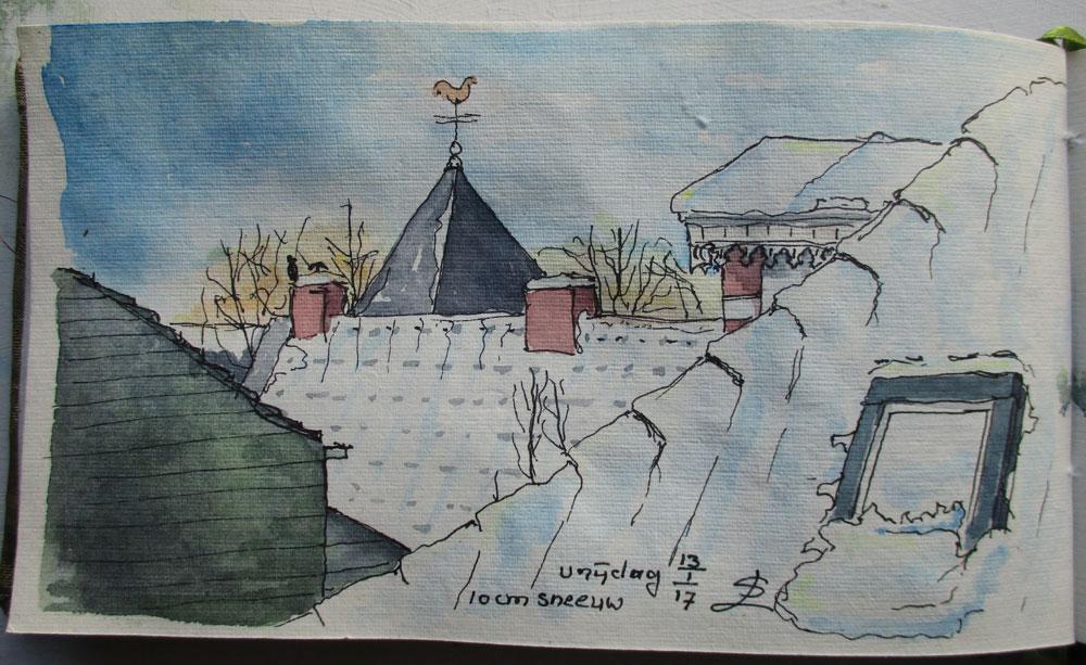 besneeuwde Rhedense daken in aquarel