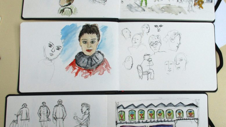 schetsboeken van deelnemers aan de workshop mensen schetsen