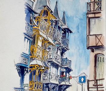 schets van Mer les Bains Frankrijk Leidekes teur