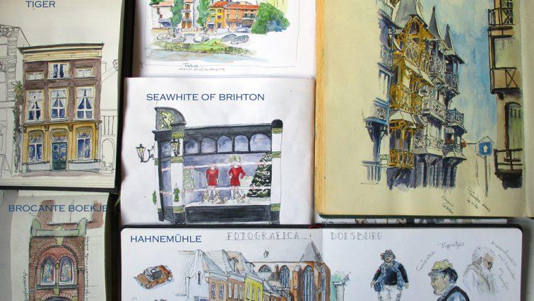 schetsen uit verschillende schetsboeken vergeleken