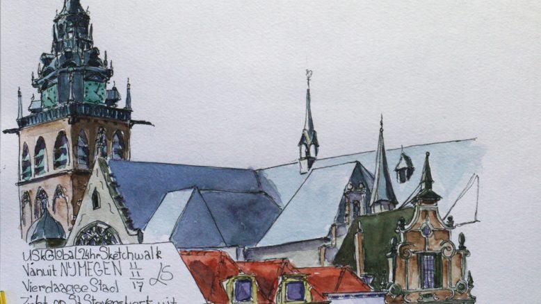 St Stevenskerk Nijmegen aquarelschets leideke steur