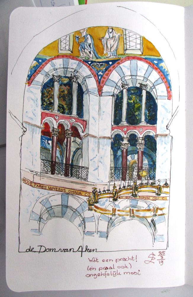 Aachener Dom Dom van Aken aquarel