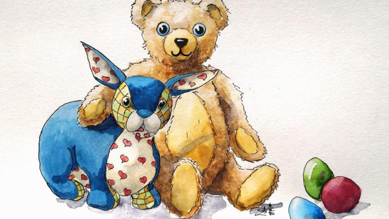 beer paashaas aquarel berenjacht