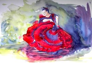 Flamencodanseres, aquarel 40x50