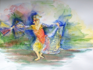 indonesische-danseres, aquarel 40x50