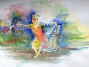 Indonesische-danseres, aquarel 40x50