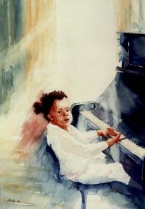 Jong-talent, aquarel 40x50