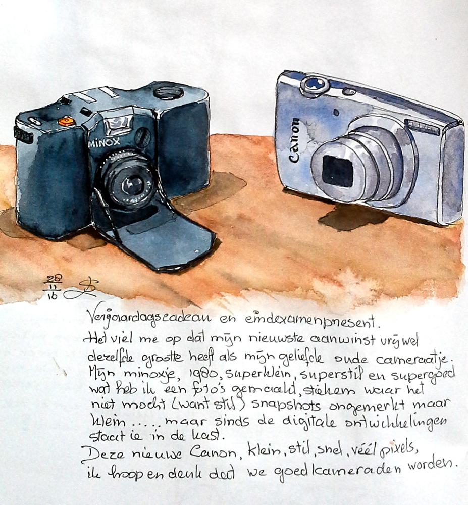 aquarel schets v an twee compactcameras