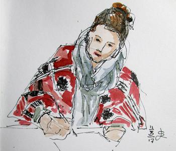 schetsende vrouw met poncho leideke steur